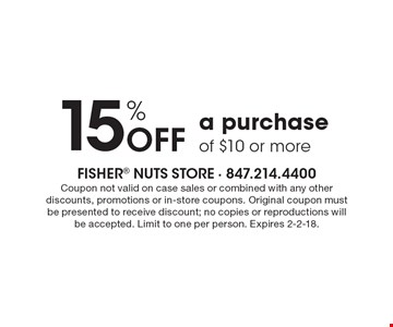 15% OFF a purchase of $10 or more. Coupon not valid on case sales or combined with any other discounts, promotions or in-store coupons. Original coupon must be presented to receive discount; no copies or reproductions will be accepted. Limit to one per person. Expires 2-2-18.