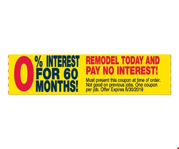 0% Interest for 60 months!