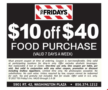 $10 off your $40 food purchase.