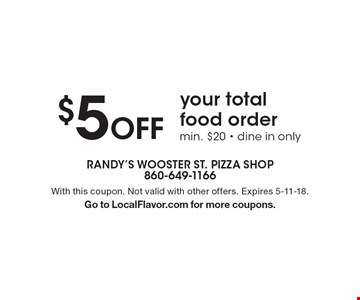 $5 Off your total food order min. $20 - dine in only. With this coupon. Not valid with other offers. Expires 5-11-18.Go to LocalFlavor.com for more coupons.