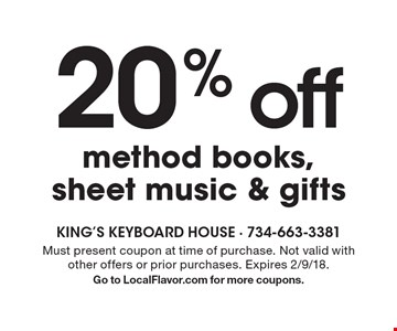 20% off method books, sheet music & gifts. Must present coupon at time of purchase. Not valid with other offers or prior purchases. Expires 2/9/18. Go to LocalFlavor.com for more coupons.