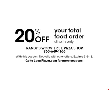 20% Off your total food order. Dine in only. With this coupon. Not valid with other offers. Expires 3-9-18. Go to LocalFlavor.com for more coupons.