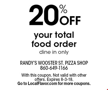 20% Off your total food order dine in only. With this coupon. Not valid with other offers. Expires 8-3-18. Go to LocalFlavor.com for more coupons.