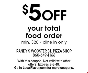 $5 OFF your total food order min. $20 - dine in only. With this coupon. Not valid with other offers. Expires 8-3-18. Go to LocalFlavor.com for more coupons.