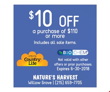 $10 OFF a purchase of $110 or more includes all sale items