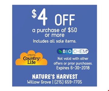 $4 OFF a Purchase of $50 or more includes all sale items
