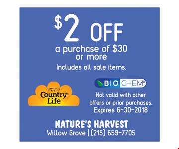 $2 OFF a purchase of $30 or more includes all sale items
