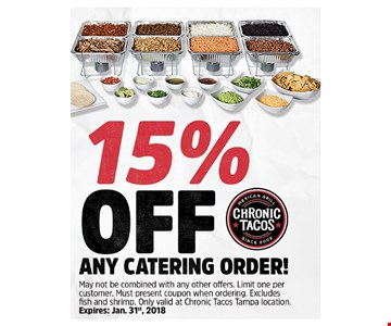 15% OFF any catering order !