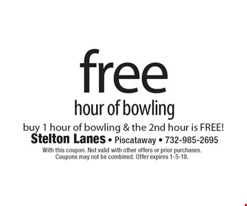 free hour of bowling buy 1 hour of bowling & the 2nd hour is FREE!. With this coupon. Not valid with other offers or prior purchases. Coupons may not be combined. Offer expires 1-5-18.