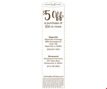 $5 OFF a Purchase of $30 or More