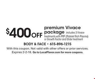 $400 off premium Vivace package. Includes 3 Vivace treatments with PRP (Platelet Rich Plasma) or Growth Factor and Glide treatment. With this coupon. Not valid with other offers or prior services. Expires 2-2-18. Go to LocalFlavor.com for more coupons.