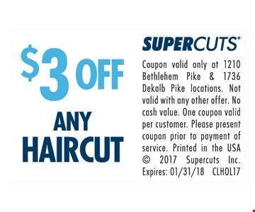 $3.00 Off Haircut