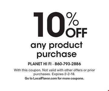 10% OFF any product purchase. With this coupon. Not valid with other offers or prior purchases. Expires 2-2-18. Go to LocalFlavor.com for more coupons.