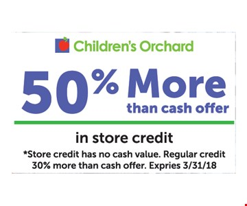 50% More than cash offer In Store Credit