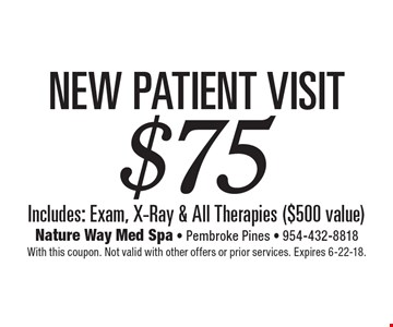 $75 New Patient Visit Includes: Exam, X-Ray & All Therapies ($500 value). With this coupon. Not valid with other offers or prior services. Expires 6-22-18.
