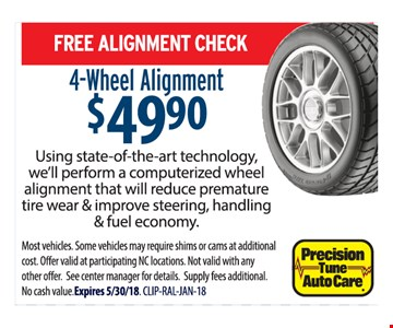 Free alignment check with a 4-wheel alignment for $49.90