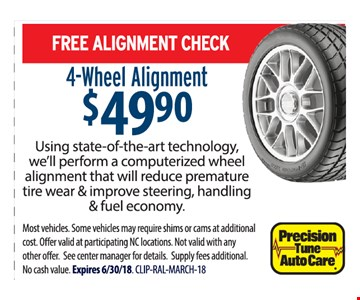 4-Wheel Alignment $49.90