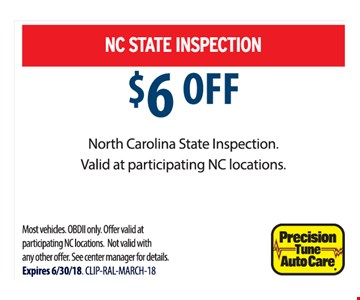 $6 Off North Carolina State Inspection