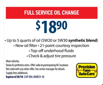Full Service Oil Change $18.90