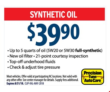• Up to 5 quarts of oil (5W20 or 5W30  synthetic blend)* New oil filter * 21 point courtesy inspections * Top-off under-hood fluids * Check & adjust tire pressure Most vehicles, Offer valid at participating NC locations. Not valid with any other offer. See center manager for details. Supply fees additional. Expires 8/31/18