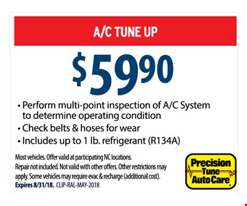 * Perform multi - point inspection of A/C System to determine operating condition * Check Belts & hoses for wear * includes up to 1 lb. refrigerant (R134A)  Most vehicles . Offer valid at participating NC locations. Repair not included. Not valid with other offers. Other restrictions may apply. Some vehicles may require evac & recharge (Additional cost) Expires 8/31/18.
