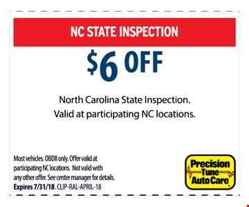 $6 OFF North Carolina State inspection.