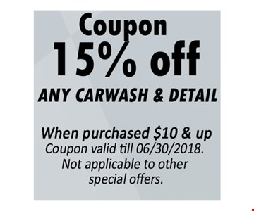 15% Off Any Carwash & Detail When purchased $10 & up