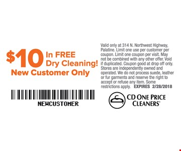 $10 in FREE dry cleaning. New customers only.