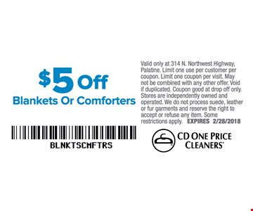 $5 off blankets or comforters