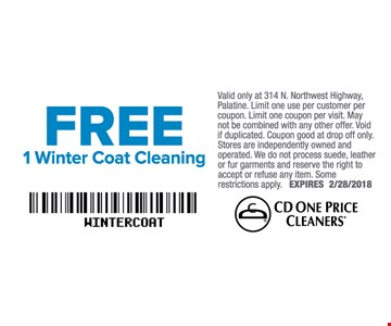 FREE 1 Winter coat cleaning