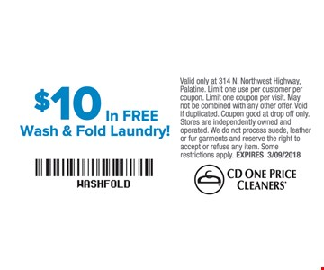 $10 In Free Wash and Fold Laundry