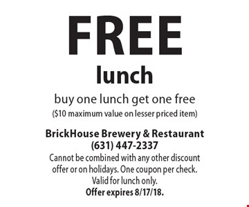 Free lunch buy one lunch get one free ($10 maximum value on lesser priced item). Cannot be combined with any other discount offer or on holidays. One coupon per check.Valid for lunch only. Offer expires 8/17/18.