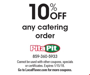 10% OFF any catering order. Cannot be used with other coupons, specials or certificates. Expires 1/15/18. Go to LocalFlavor.com for more coupons.