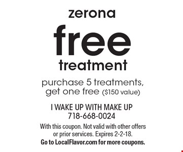 zerona free treatment. Purchase 5 treatments, get one free ($150 value). With this coupon. Not valid with other offers or prior services. Expires 2-2-18. Go to LocalFlavor.com for more coupons.
