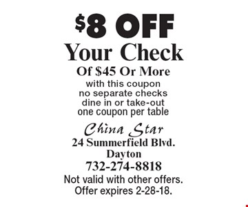 $8 OFF Your Check Of $45 Or Morewith this coupon no separate checks dine in or take-outone coupon per table . Not valid with other offers. Offer expires 2-28-18.