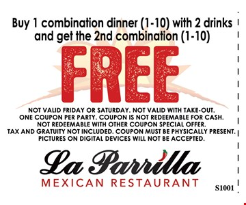 NOT VALID FRIDAY OR SATURDAY. NOT VALID WITH TAKE-OUT. ONE COUPON PER PARTY. COUPON IS NOT REDEEMABLE FOR CASH. NOT REDEEMABLE WITH OTHER COUPON SPECIAL OFFER. TAX AND GRATUITY NOT INCLUDED. COUPON MUST BE PHYSICALLY PRESENT. PICTURES ON DIGITAL DEVICES WILL NOT BE ACCEPTED.