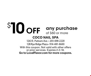$10 Off any purchase of $60 or more. With this coupon. Not valid with other offers or prior services. Expires 2-2-18. Go to LocalFlavor.com for more coupons.