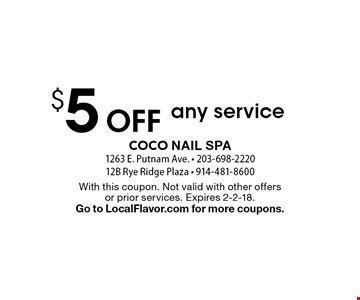 $5 Off any service. With this coupon. Not valid with other offers or prior services. Expires 2-2-18. Go to LocalFlavor.com for more coupons.