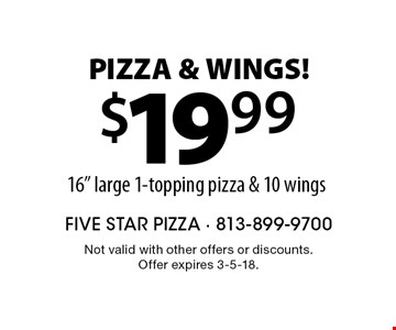 Pizza & Wings! $19.99 16