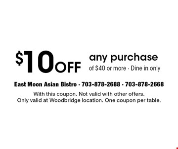 FREE Crab Rangoon Or California Roll With Any Purchase Of $30 Or More. With this coupon. Not valid with other offers. Only valid at Woodbridge location. One coupon per table. Not valid with All-You-Can-Eat Sushi offer. Excludes alcohol.