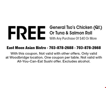 $10 off With Any Purchase Of $40 Or More. Dine in only. With this coupon. Not valid with other offers. Only valid at Woodbridge location. One coupon per table.