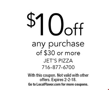 $10 off any purchase of $30 or more. With this coupon. Not valid with other offers. Expires 2-2-18.Go to LocalFlavor.com for more coupons.