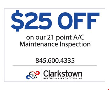 $25 off on our 21 point A/C maintenance inspection