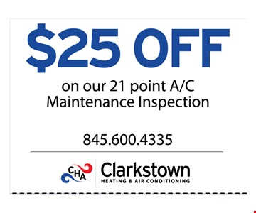 $25 OFF on Our 21 points A/C Maintenance inspections
