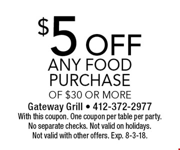 $5 off any food purchase of $30 or more. With this coupon. One coupon per table per party. No separate checks. Not valid on holidays. Not valid with other offers. Exp. 8-3-18.