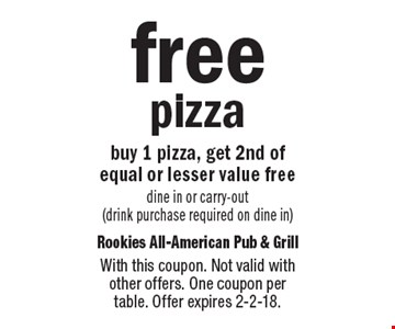 Free pizza. Buy 1 pizza, get 2nd of equal or lesser value free. Dine in or carry-out (drink purchase required on dine in). With this coupon. Not valid with other offers. One coupon per table. Offer expires 2-2-18.