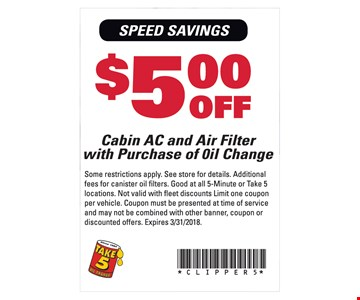 $5 Off Cabin AC and Air Filter with Purchase of Oil Change