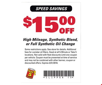 $15 Off High Mileage, Synthetic Blend or Full Synthetic Oil Change