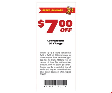 $7 off conventional oil change