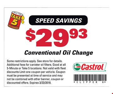 $29.93 for a Conventional oil change